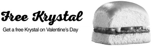 Krystal Free Krystal Burger on Valentine's Day, 2015 - US