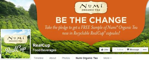 Numi Organic Tea Recyclable RealCup Capsules Free Sample via Facebook
