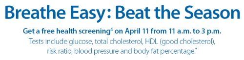 Sam's Club Free Health Screening on April 11, 2015 from 11 a.m. to 3 p.m.