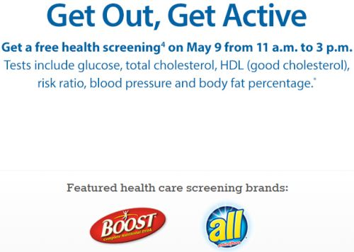 Sam's Club Get Out, Get Active Free Health Screening on May 9 from 11 a.m. to 3 p.m.