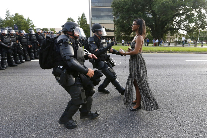 Brave woman at Baton Rouge protest