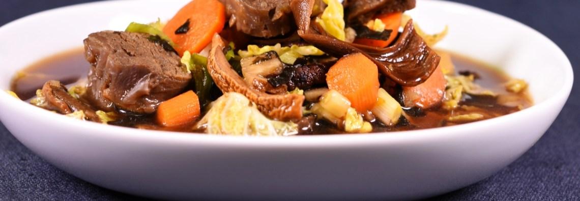 Miso Style Rindfleisch Gemüse Olivenblätter 4