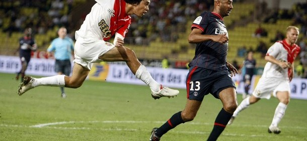 Park of Monaco scores a goal against Paris Saint Germain during their French Ligue 1 soccer match in Monaco