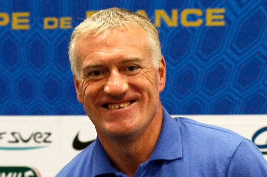 France's national soccer team coach Deschamps attends a news conference at the Stade de France in Saint-Denis near Paris