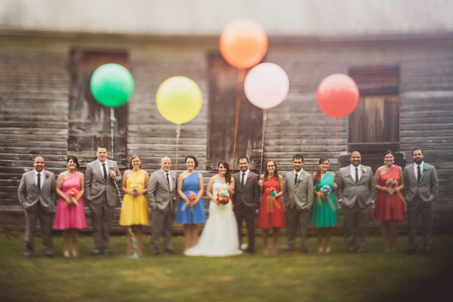 colorful wedding birds details 12 Pop Colors, Balloons, Crepe Paper Flowers and Pom Poms for the Ceremony Exit