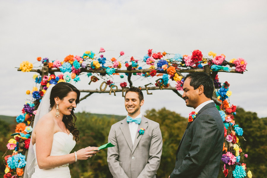 colorful wedding birds details 19 Pop Colors, Balloons, Crepe Paper Flowers and Pom Poms for the Ceremony Exit