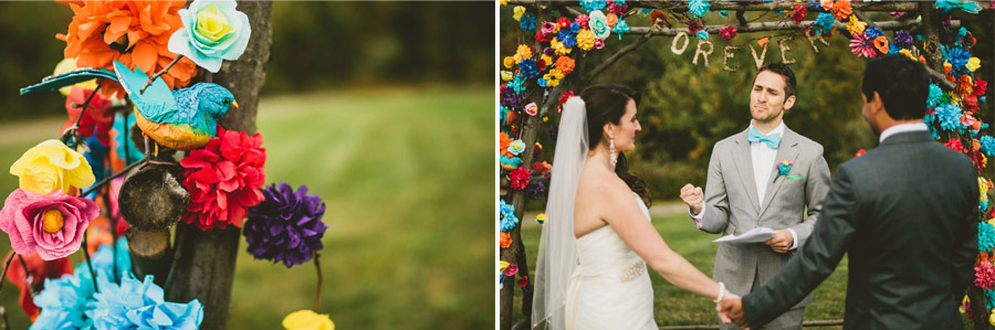 colorful wedding birds details 20 Pop Colors, Balloons, Crepe Paper Flowers and Pom Poms for the Ceremony Exit