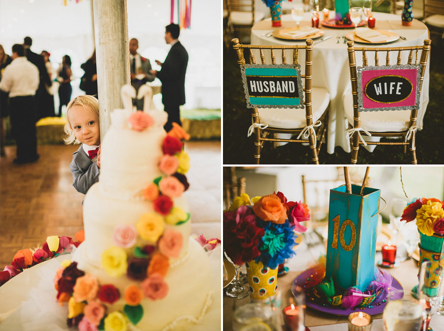 colorful wedding birds details 26 Pop Colors, Balloons, Crepe Paper Flowers and Pom Poms for the Ceremony Exit