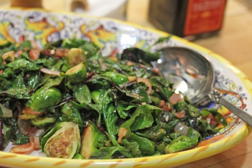 Beet Greens with Caramelized Onions and Brussels Sprouts