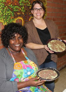 Shetara and Jamie showing off their Grasshopper Pies.