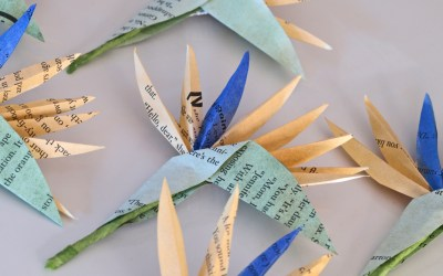 Paper Strelitzia Buttonholes from Painted Book Print