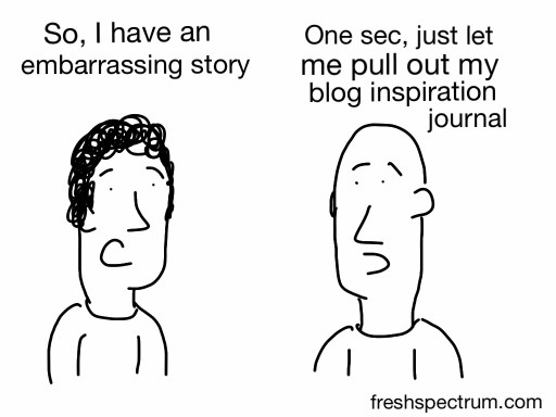 Embarrassing story, blog journal