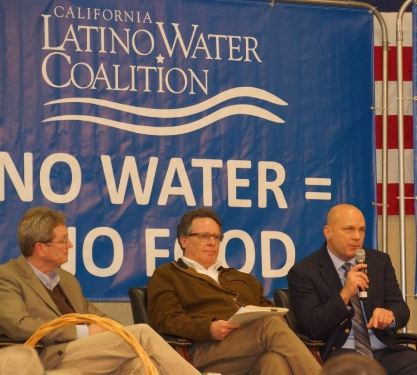 U.S. Bureau of Reclamation / Michael Jackson Western San Joaquin Valley water leaders Tom Birmingham (left) and Dan Nelson listen to a presentation by Friant Water Authority General Manager Ronald D. Jacobsma.
