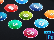 12 Glass Light Social Icons
