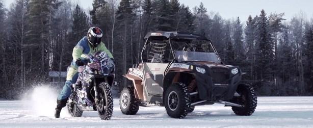 Drift Battle Bike vs Buggy...On Ice