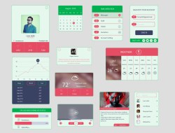 Free Colored UI Kit In Flat Design