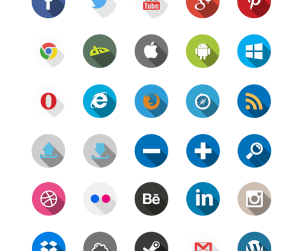 40 Free Flat Long Shadow Icons