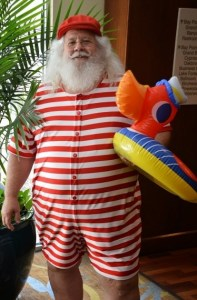 Santa finally gets to model his swimwear. Photo by James Williams.
