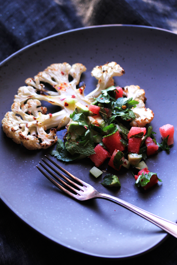 Cauliflower Steak with Watermelon Salsa // From Hand To Mouth