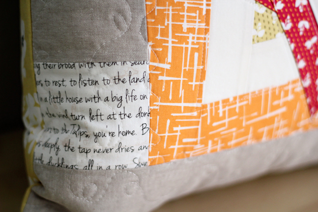 Madrona Road Pillow (text detail) - from Marta with Love