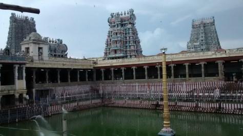 Inside, the sacred or holy pond.