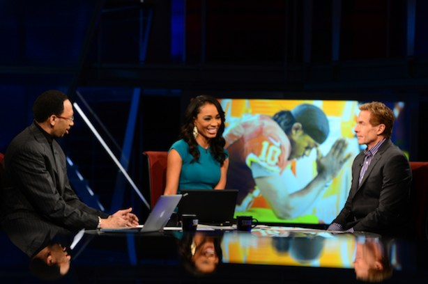 First Take commentators (L-R) Stephen A. Smith, Cari Champion and Skip Bayless on the set. (Joe Faraoni/ESPN Images)