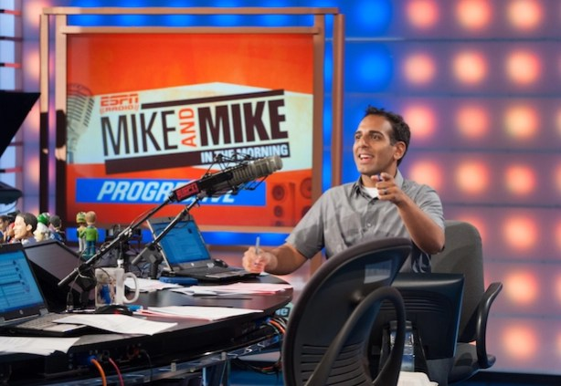 Mike and Mike in the Morning with Adnan Virk. (Joe Faraoni/ ESPN Images)