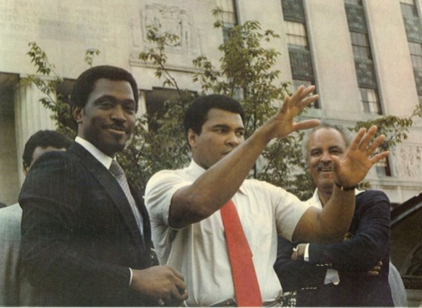 Amani Martin's father, Nathaniel Martin (L), next to Muhammad Ali. (Photo courtesy of Amani Martin)