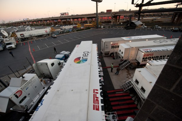 ESPN Monday Night Football production trucks. (Joe Faraoni/ESPN Images)