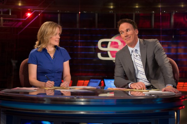 Chris McKendry (L) and John Buccigross on the SportsCenter set (Joe Faraoni / ESPN Images)