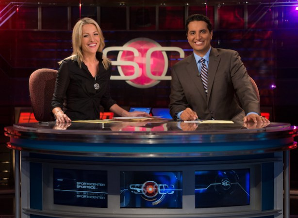 ESPN&#039;s Lindsay Czarniak (L) and Kevin Negandhi. (Joe Faraoni/ESPN Images)