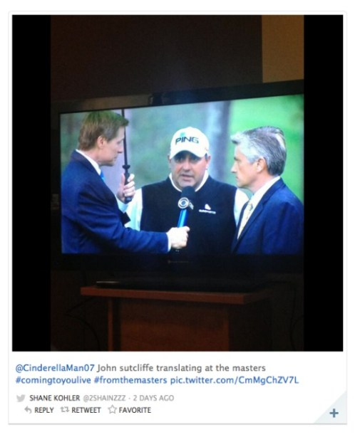Snapshot of CBS coverage of the Masters featuring (l-r) CBS' Bill Macatee, Masters golfer Angel Cabrera and ESPN Deportes' John Sutcliffe, who served as an interpreter for Cabrera. (CBS/ESPN/Twitter)