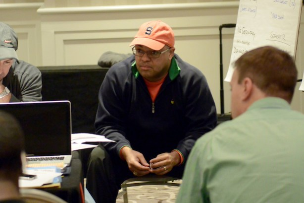 ESPN's Mike Tirico, 1988 Syracuse grad, at a Monday Night Football production meeting. (ESPN)