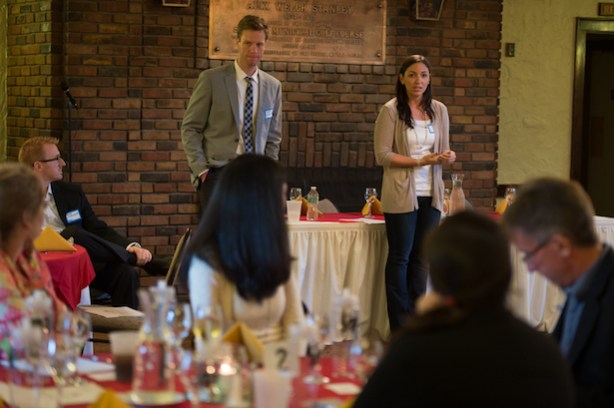ESPN Young Professionals President Jennifer McKenzie and Adam Masterson speak at a YP Observation Program. (ESPN)