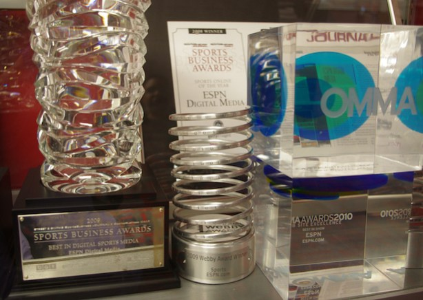 A Webby Award featured in one of ESPN's award cases. (Hannah Worster/ESPN)