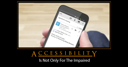 mobile phone with the caption accessibility is not only for the impaired