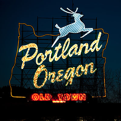 Portland, Oregon, White Stag Sign