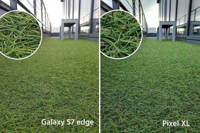 AndroidPIt google pixel XL vs samsung galaxy s7 edge grass