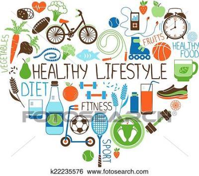 Clipart - manière vivre saine, régime, et, fitness, cœur ...