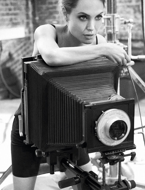 Angelina Jolie with a large format bellows camera