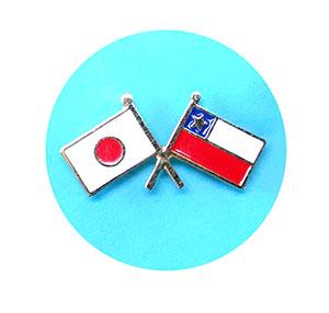 日本チリ国旗ピンバッチ