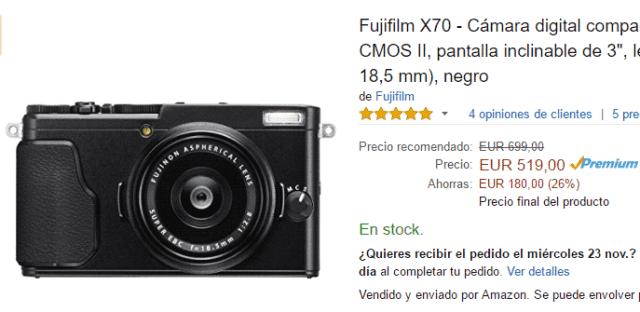Fujifilm X70 en Black Friday.