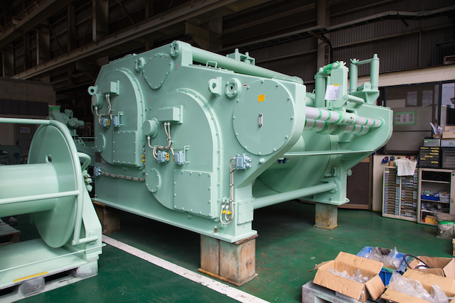 Purse winch for purse seiner ready for shipment.
