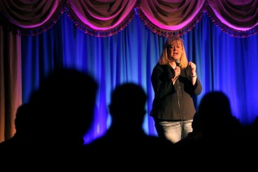 Melissa Errett performs a routine Friday April 24, 2015 at the Comedy Club of Williamsburg. Area veterans learned how to be stand-up comics during a comedy workshop that started in mid-March.