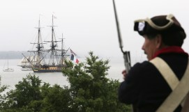The 1st and 7th Virginia Regiments came to Yorktown to fire cannon salutes to the L'Hermione upon her arrival in Yorktown. An infantryman gazes out at the sailing vessel. (Judy Lowery)