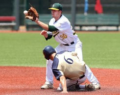 Lafayette's Jered Antle safely steals second as Loudoun Valley's Trey McDyre makes the catch during the second inning Saturday at Liberty University.