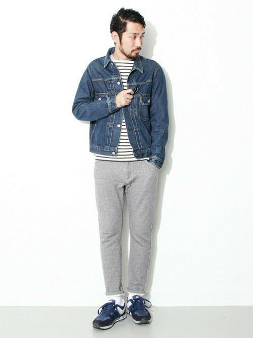 Gジャン×スウェットパンツを着こなした春夏メンズスタイル