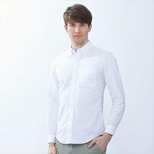 UNIQLO MEN オックスフォードスリムフィットシャツ(長袖)+E
