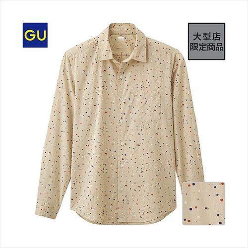GU土リッピングプリントシャツの画像
