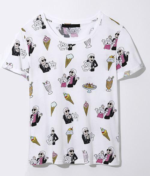 カールラガーフェルド×ティファニークーパー総柄Tシャツ